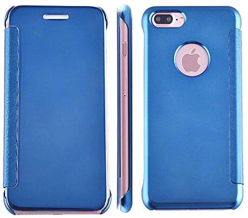 Nnopbeclik® [Coque Iphone 7 Plus Silicone] Luxe Miroir Etui Housse pour Iphone 7 Plus Coque transparente (5.5 Pouce) Clear View Smart Flip case Couverture dure de cas avec le sommeil / réveil Fonction bleu