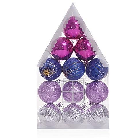 Weihnachtskugeln Tannenbaum Deko Multi Farbige Christbaumschmuck Weihnachten Deko Anhänger Salutto 12pcs 1.96