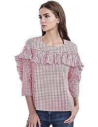 Velvet Melody Blouse In Red & White Check