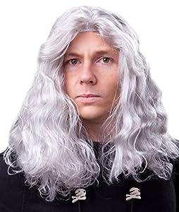 Marco Porta 404 - Conde Drácula peluca de terror hasta los hombros, formato, gris