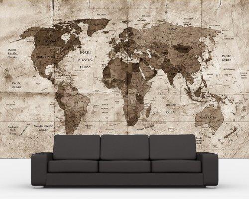selbstklebende Fototapete - Weltkarte retro II - sephia - sepia - 200x150 cm - Tapete mit Kleber – Wandtapete – Poster – Dekoration – Wandbild – Wandposter – Wand – Fotofolie – Bild – Wandbilder - Wanddeko (Der Globale Erde Bilder)