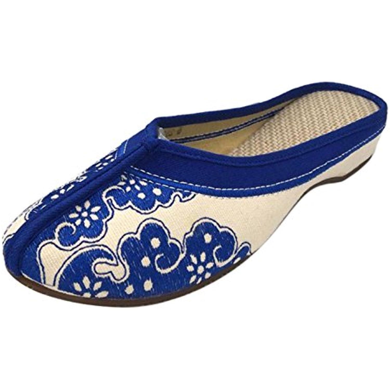Fleur Plat Chaussures Icegris Main S Bleu Femmes Fait 41B01imww2f8 Broderie Clogs pzMVqSU