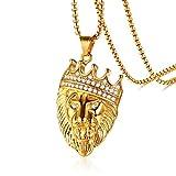 XJYA Europäische und Amerikanische Dominierende Männer Anhänger Halskette - Strass Krone Löwenkopf Gold Anhänger Mens Halskette