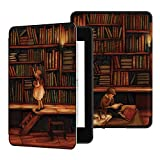 Ayotu Custodia in Pelle per Kindle Paperwhite 2018 - Case Cover Custodia Amazon Nuovo Kindle Paperwhite (10ª Generazione - Modello 2018), K10 The Library