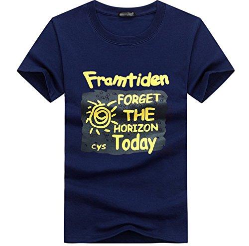 NiSeng Herren Rundhals T-Shirt Casual Kurze Ärmel T-Shirt Mode Druck Loose T-Shirt Dunkel Blau