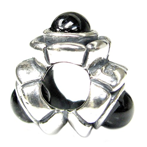 Queen berry pietra onice nero fiore argento sterling per pandora troll charm bracciali gioielli basamento della storia