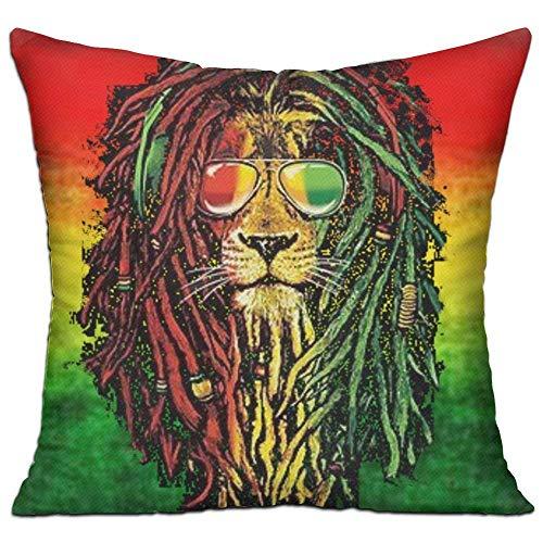 NasNew Multi-Sized Pillow Case Reggae Rasta Flag Lion Cushion Cover Polyester Cover Zipper Pillowcase for Club Pub - 18