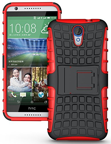 Heartly Flip Kick Stand Spider Hard Dual Rugged Armor Hybrid Bumper Back Case Cover For HTC Desire 620 620G 820 Mini Dual Sim - Hot Red