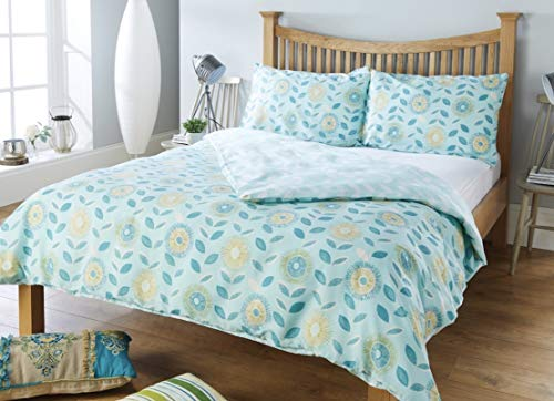 RW Home Bettwäsche-Set, Retro-Blumenmuster, pflegeleicht, Aquamarin, Einzelbett