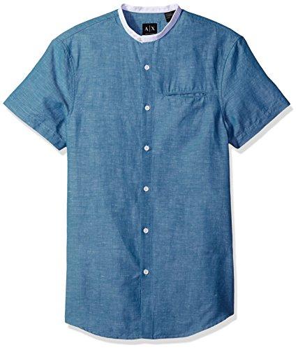 Armani Exchange Herren-Taschen-Detail, Leinen, ohne Kragen, gewebt - Blau - Klein