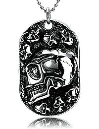 d1d09f7ef8 Ciondolo Collana Teschio Collana Uomo Acciaio Grande Ciondolo Teschio con  Modifica Del Metallo Gotico Gioielli per