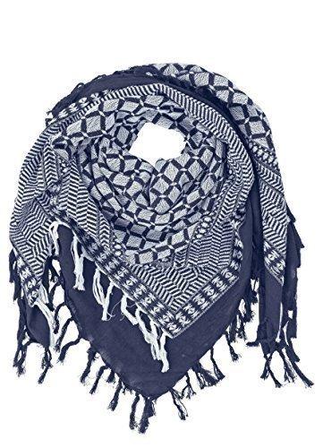 becksondergaard-quadratischer-damen-schal-aamira-in-blau-dark-blue-mit-fransen-in-fester-baumwollqua