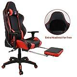 [Grande Taille en Version Améliorée] Kinsal Gaming Chaise fauteuil siège de bureau racing sport ergonomique avec support lombaire et coussin Chaise gamer Fauteuil de bureau racing sport Noir/rouge