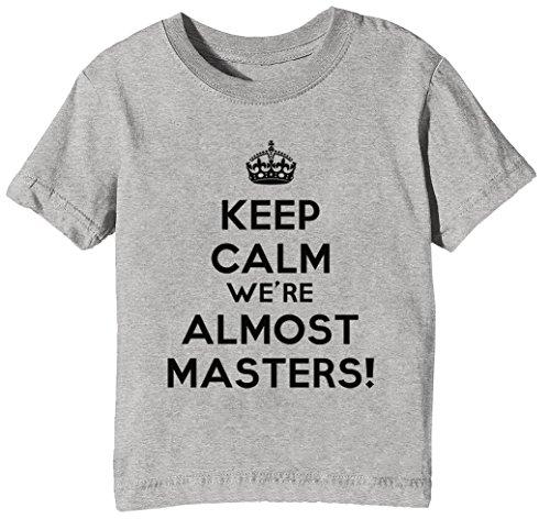 Keep Calm were Almost Masters Kinder Unisex Jungen Mädchen T-Shirt Rundhals Grau Kurzarm Größe XL Kids Boys Girls Grey X-Large Size XL