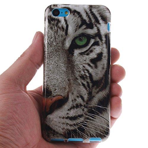 iPhone 5C Hülle,iPhone 5C Case [Scratch-Resistant] , Cozy Hut Apple iPhone 5C Ultra Slim Perfect Fit Painted Designs Design Muster Malerei TPU Clear Transparent Protective back Hülle Hüllen Beschützer Weißer Tiger