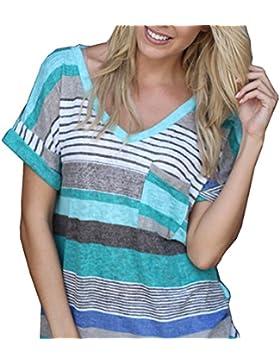 Monika Mujeres Verano Camisetas Sudadera Casual Manga Corta Cuello V Camisa Rayadas Patchwork Elástico T Shirt...