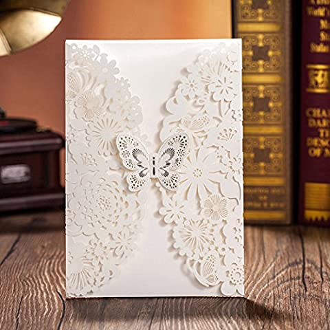 Wishmade Wedding Invitations Kits 50PCS White Laser Cut Flowers with Butterfly for Marriage Engagement Party