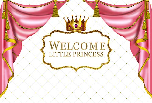 Royal Pink Princess Baby Shower Hintergrund Golden Crown Pink Vorhang White Hintergrund Baby Girl Shower Party Banner Supplies Dekoration