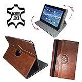 Huawei MediaPad T2 10.0 Pro Wifi - 10.1 Zoll Drehbare Tablet Schutztasche mit Standfunktion + Touch Pen - 101 Zoll Echtleder 360° Braun