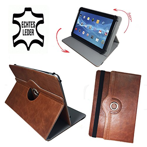 Amazon Fire HD 10 - (10.1) Zoll Drehbare Tablet Schutztasche mit Standfunktion + Touch Pen - 10 Zoll Echtleder 360° Braun