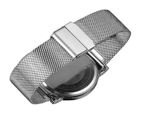 Luxus-High-End-Mode-Uhr-Mesh-Band Metall milanese Band Deluxe Ersatzarmband für Uhren mit Fester Sicherheit Faltschließe, Edelstahl 316l, für Männer und Frauen Silber