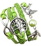 Armband Unendlichkeit Baum des Lebens, Taube und Perle Silber Grün / Infinity / besser Lederband / anhänger / One Direction