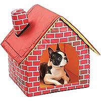 Tienda de campaña Cama de Perro Gato Cojín de Mascotas Removible y Lavable con Chimenea de la Casa Perrera para Perros Pequeños y Medianos y Gatos