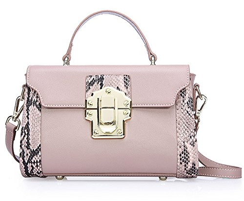 Xinmaoyuan borse Donna Summer Vacchetta colore a serpentina abito spalla attraversa Ladies Handbag,Rosa Rosa