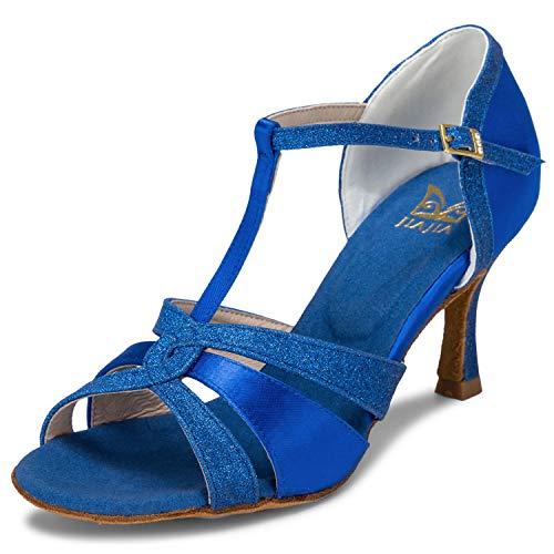 JIA JIA 20519 Damen Sandalen Ausgestelltes Heel Super-Satin mit funkelnden Glitter Latein Tanzschuhe Farbe Blau,Größe 40 EU