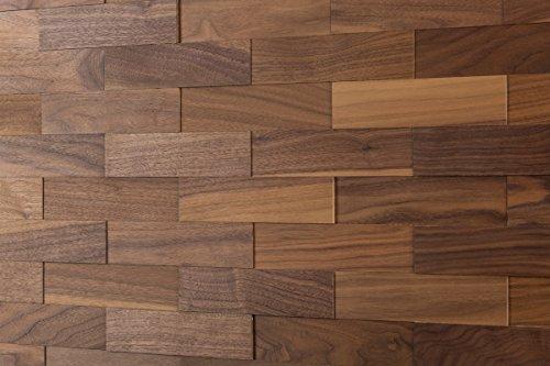 wodewa Wandverkleidung Holz 3D Optik I Nussbaum I 1m² Wandpaneele Moderne Wanddekoration Holzverkleidung Holzwand Wohnzimmer Küche Schlafzimmer I Geölt