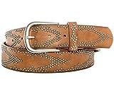 Gadzo Damen Gürtel brauner nietengürtel nietengürtel braun damen bunt Vintage Nieten gürtel braun 90 cm K1607