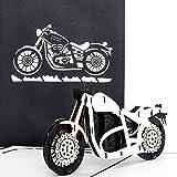 Pop-Up Karte 'Motorrad - Harley Davidson' - 3D Card Motorbike, Einladung / Gutschein Motorrad Ausflug, Motorradkarte