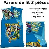 Toy Story–Juego de cama (3pcs)–Funda de edredón (140x 200) + funda de almohada (63x 63) + sábana bajera (90x 190)