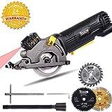 Handkreissäge, TECCPO Professionale Mini-Kreissäge mit Laserführung und einstellbarer Schnitttiefe, stabile...