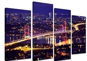 Panneau Multi Split Toile Art Art–Pont du Bosphore Istanbul Turquie Night Lights rivière Reflets Lumineux City Traffic–Art Depot sortie–4Panneau–101cm x 71cm (101,6x 71,1cm)