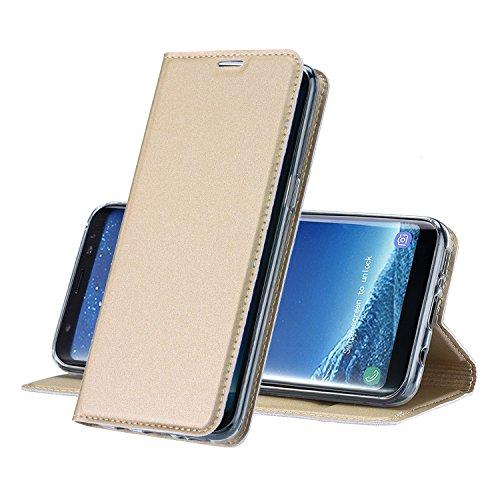 MUKUTECH Hülle für Samsung Galaxy S8 Plus - Handyhülle Ultra Slim Cover Schutzhülle mit unsichtbarem Magnetverschluss, Ständer, Kartenfach und TPU Innenschale, Bookstyle Case in Gold (Mikrofaser-hybrid-jacke)