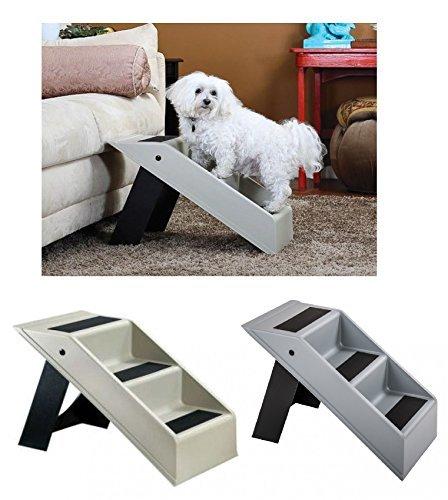 Haustiertreppe Hundetreppe Katzentreppe Hunderampe Einstiegshilfe Tiertreppe, Farbe:weiß