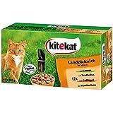 Kitekat Katzenfutter Frischebeutel Mix / Landpicknick in Sauce / Nassfutter Multipack für Katzen / 48 x 100 g Portionsbeuteln / Lamm, Geflügel, Kaninchen, Truthahn