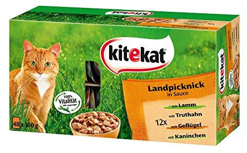 Kitekat Katzenfutter Frischebeutel Mix, Landpicknick in Sauce, Nassfutter Multipack für Katzen, 48 x 100 g Portionsbeuteln, Lamm, Geflügel, Kaninchen, Truthahn