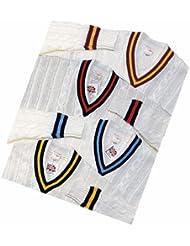Nueva Cricket Jersey estilo tradicional (acrílico), diseño de rayas, color azul marino/cielo, color , tamaño S