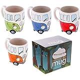 Set of 4 Camper Van Mugs, Hand Painted Blue, Red, Orange & Green by Camper Van