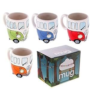 Set of 4 Camper Van Mugs, Hand Painted Blue, Red, Orange & Green