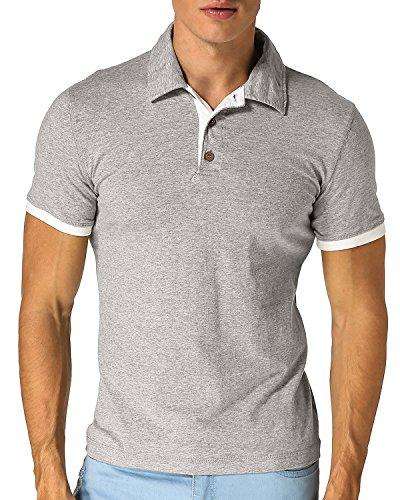 MODCHOK Herren T-Shirt Shirt Poloshirt Kurzarm Hemd Knopfleiste Slim Fit