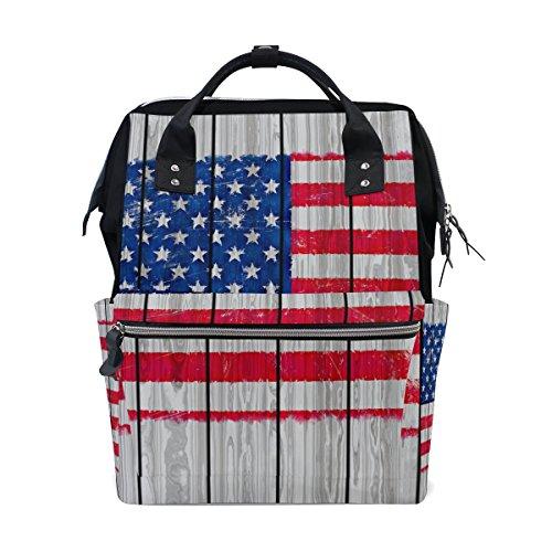 Mumienschlafsack Windel Tote Staubbeutel mehr Kapazität Baby Wickeltasche im Grunge-Style Amerika Flagge auf Holz muti-function Reise Rucksack -