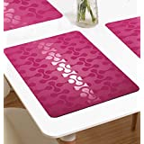The Purple Tree Stylish PVC Table Mats - Pack Of 6 (13 X 19 Inches), Waterproof Place Mats Multi Purpose Mats, 6 Seater Dining Table Mats, Refrigerator Mats,