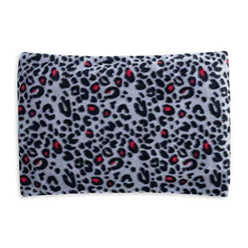 Cuscino fossa in ciliegio ecologico per il relax e il benessere   rivestimento sfoderabile in pile rosa Leopardo rosa   350 grammi   30x20cm   Modello 2020