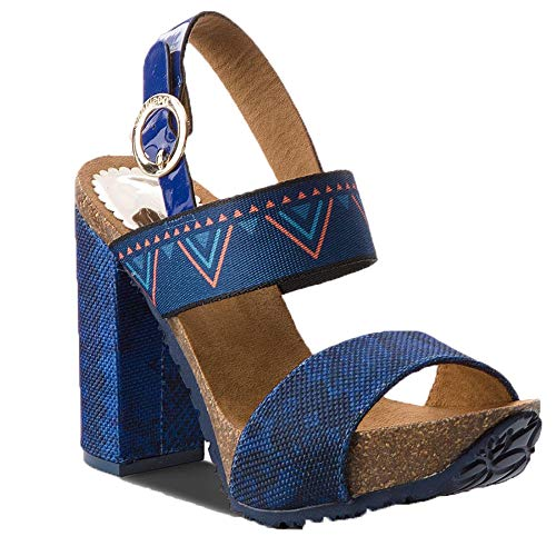 Desigual 18SSHF13 Sandalo Tacco Donna Blu 36