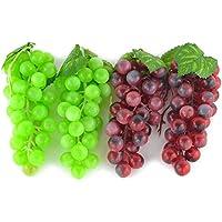 4ramilletes de Artificial verde y morado racimo de uva simulación falso fruta casa casa cocina decoración realista