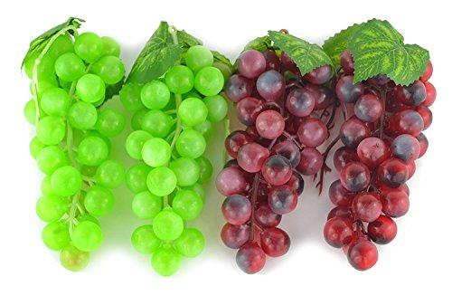 4Bündel Künstliches Grün und Violette Trauben, Darstellung falscher Früchte für Haus, Küche, Party, Dekoration, lebensecht