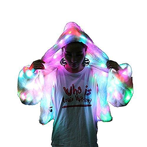 LED mehrfarbige warme Hoodie mit glänzenden Lichter Jacke Halloween Weihnachten Kostüm (EU 34/36) (Herren Light Up Halloween Kostüme)